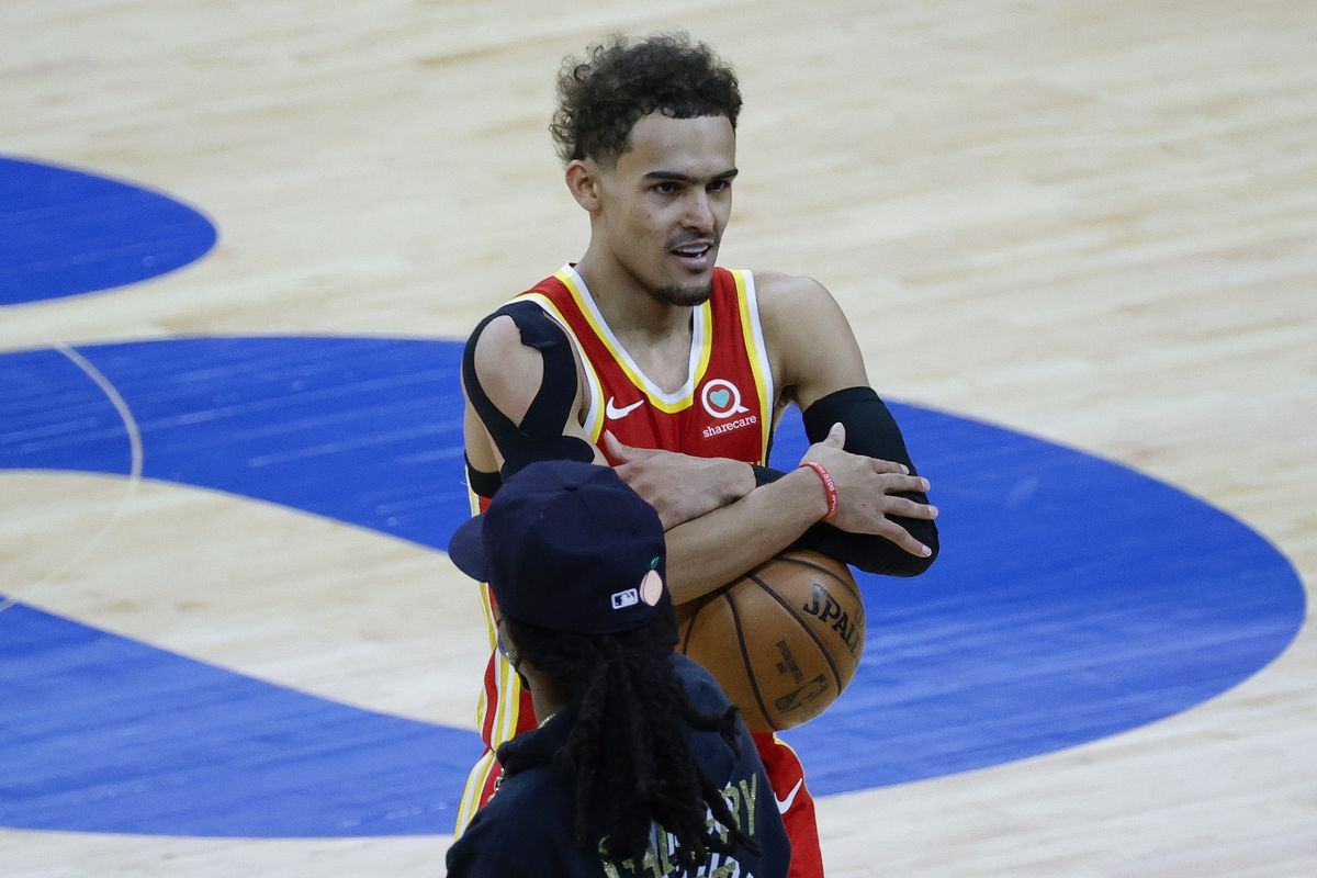 Trae Young of the Atlanta Hawks celebates after defeating the Philadelphia 76ers during Game Five of the Eastern Conference Semifinals at Wells Fargo Center on June 16, 2021 in Philadelphia, Pennsylvania.