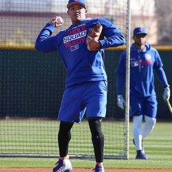 Addison Russell throws a ball after taking ground balls on Field 2 at the Riverview Park, the Spring Training home of the Chicago Cubs, in Mesa, AZ.   John Antonoff/For the Sun-Times
