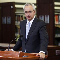 FILE - Elder James J. Hamula speaks during a media event at the Church History Library on Wednesday, Sept. 3, 2014. Elder Hamula was released as a General Authority Seventy.