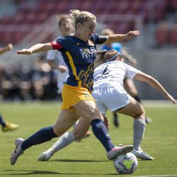 Utah Royals FC forward Amy Rodriguez (8) tries to get off a shot as the Utah Royals and Sky Blue play in the National Women's Soccer League Challenge Cup at Zions Bank stadium in Herriman on Saturday, July 4, 2020. Utah won 1-0.