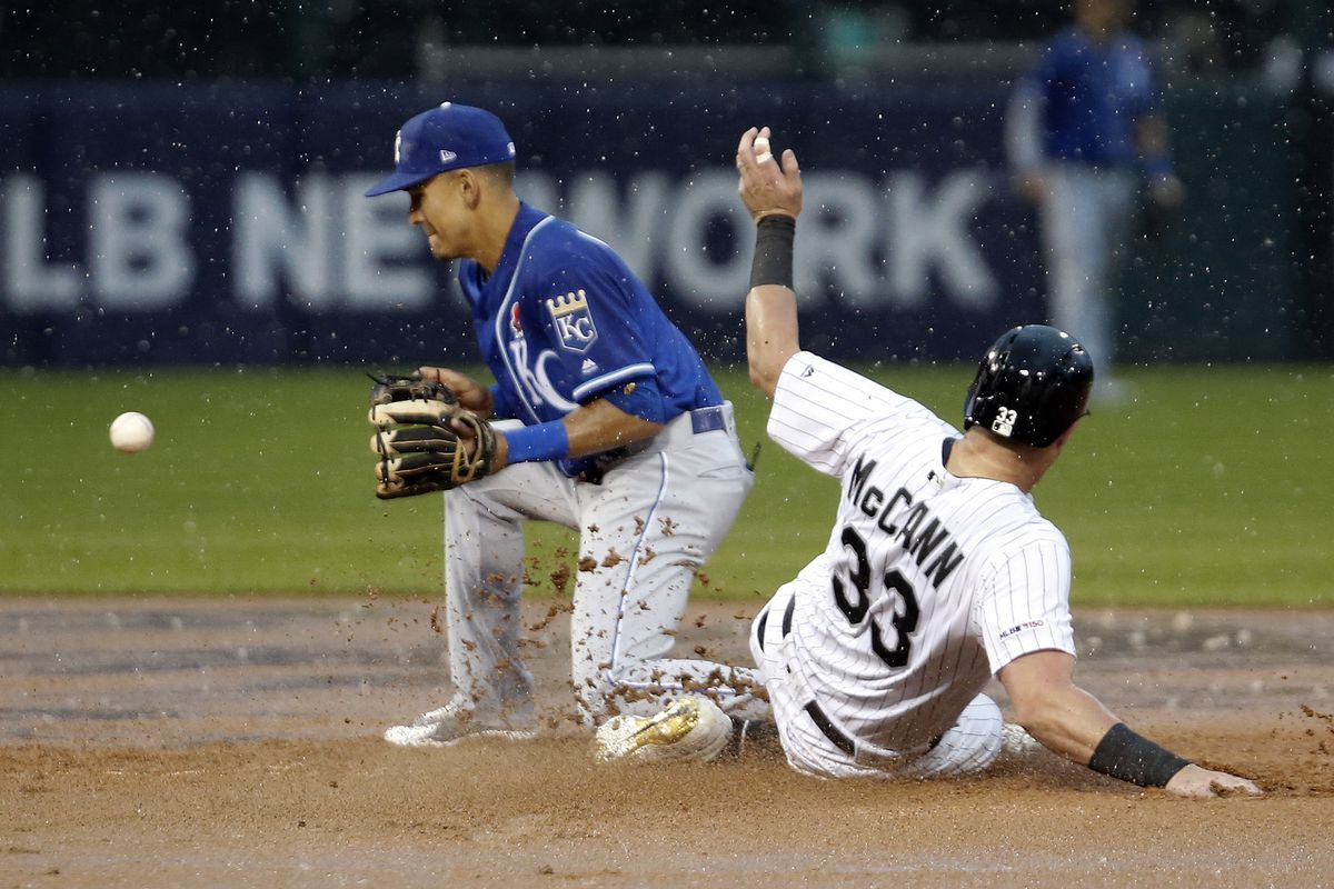 James McCann #33 of the Chicago White Sox goes to second while Nicky Lopez #1 of the Kansas City Royals catches the throw from third base during the fifth inning at Guaranteed Rate Field on May 27, 2019 in Chicago, Illinois.