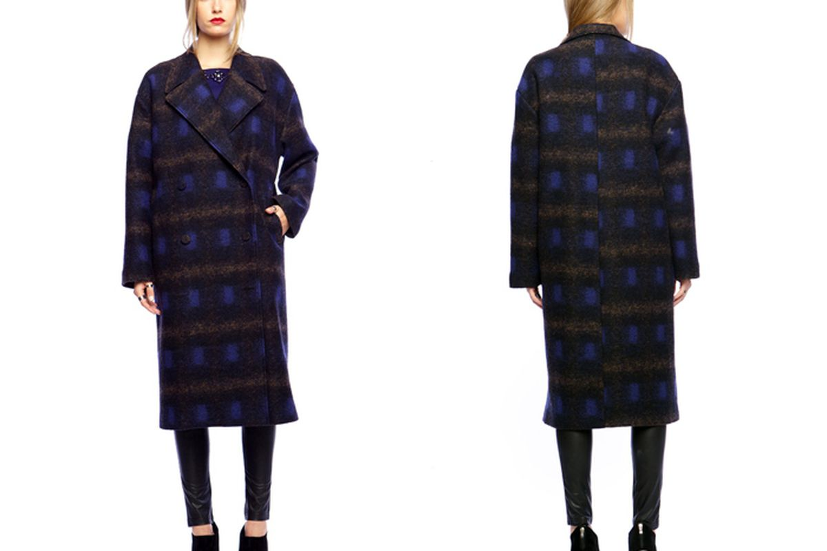 """Line &amp; Dot Helena Maxi Coat in Psychedelic Blue Plaid, <a href=""""http://www.thelineanddot.com/RetailShop/Display_Product_Detail.aspx?Cat1ID=641&amp;Cat1Name=JACKETS%20/%20COATS&amp;ProductID=218285&amp;StyleNo=LJ9249A#"""">$296</a>"""