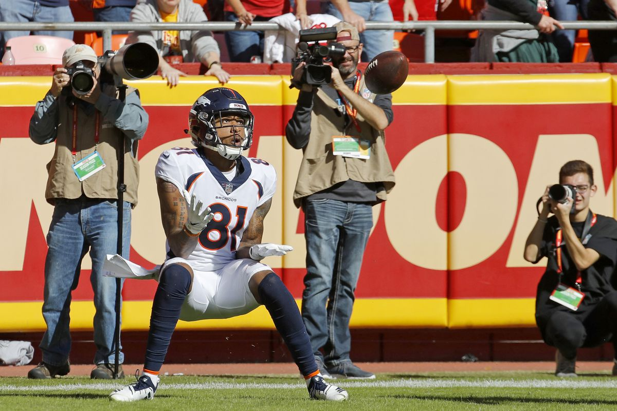 Denver Broncos wide receiver Tim Patrick (81) makes a touchdown catch during the first half of an NFL football game against the Kansas City Chiefs in Kansas City, Mo., Sunday, Oct. 28, 2018. (AP Photo/Charlie Riedel)