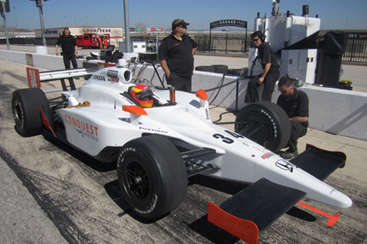 Pippa Mann tests a Conquest Racing Dallara at Texas Motor Speedway in March 2011 (Photo: PippaMann.com)