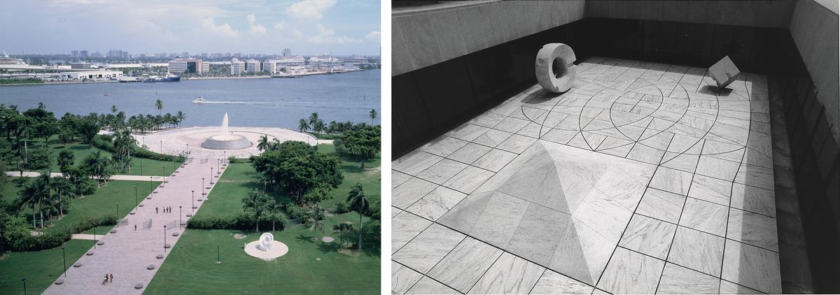 Left: A fountain on the water in a park in Miami. Right: A black and white image of a model for the Sunken Garden for the Beinecke Library.