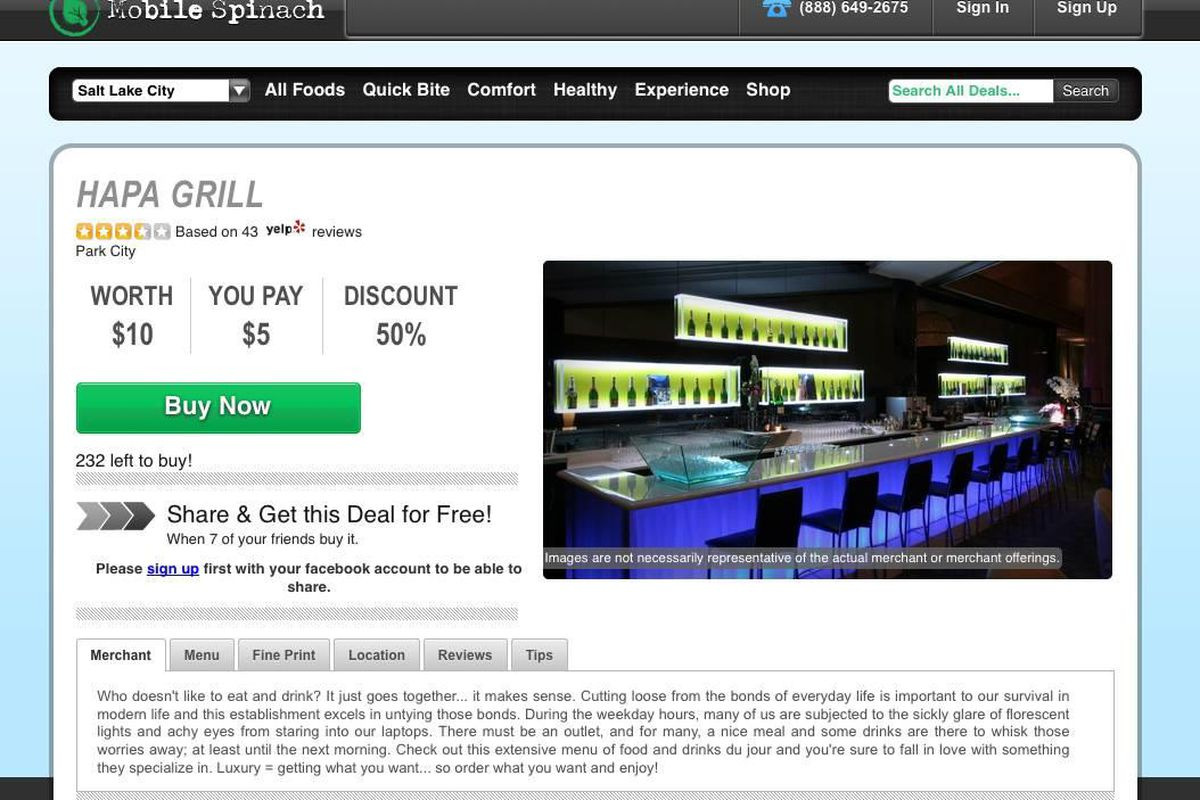 Owners of the Hapa Grill in Park City said they never authorized this offer on discount website MobileSpinach.com