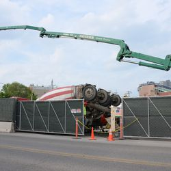 5:40 p.m. View of concrete being transferred, from Clark Street -