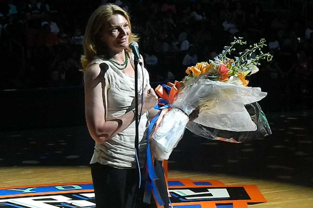 Recently-inducted Womens Basketball Hall of Famer Sue Wicks was honored at halftime of the New York Liberty's game on Sunday.