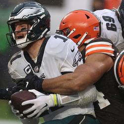 November 2020: In Week 11, the Browns sacked QB Carson Wentz 5 times and he threw 2 interceptions en route to a 22-17 victory for Cleveland on a rainy day. Sione Takitaki had a 50-yard pick six in the second quarter to set the tone for the game, and Wentz was right up there with Haskins as the worst quarterback the team faced in 2020.
