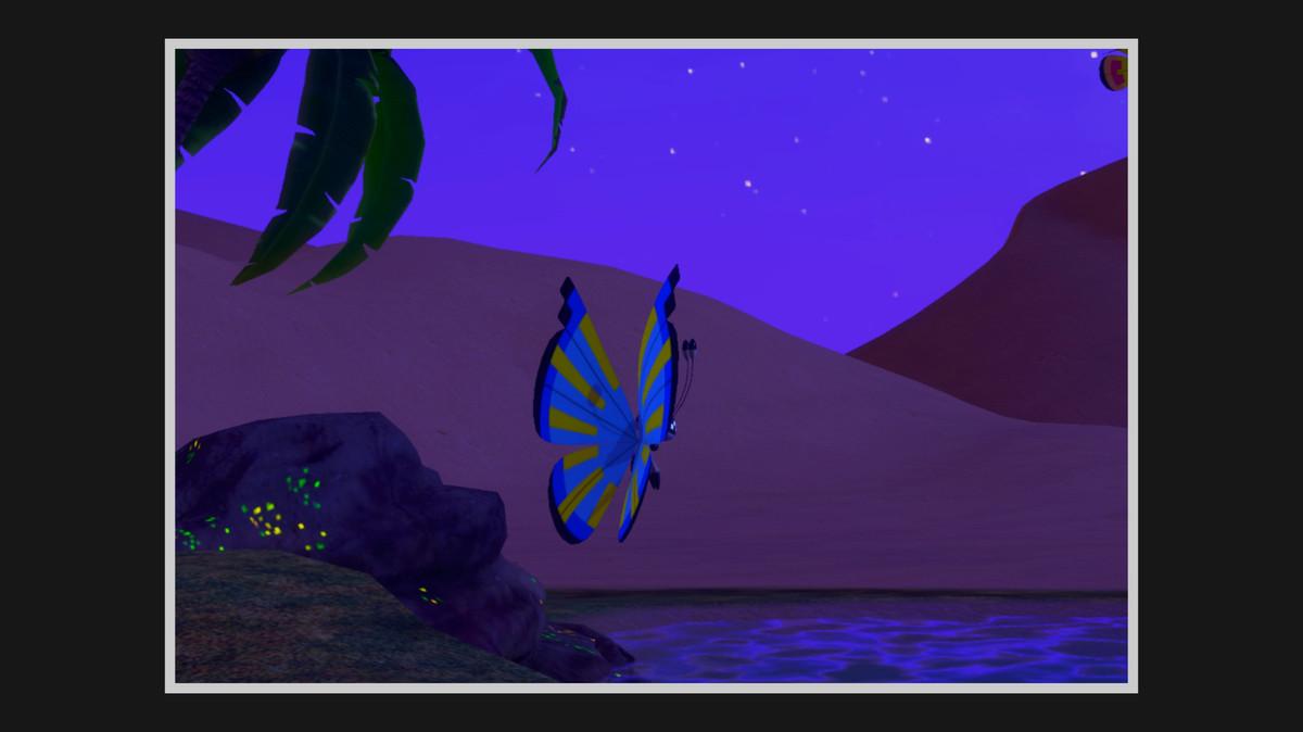 Savanna Pattern Vivillon flies over the oasis at night