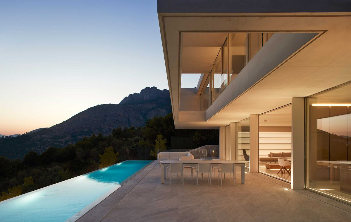 Patio with infinity pool