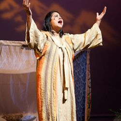 """Annaka Elder as Sariah in the 2011 production of """"Nephi and the Sword of Laban."""" This summer, """"Nephi and the Sword of Laban"""" will run in Salt Lake City as an alternative to """"The Book of Mormon"""" Broadway musical."""