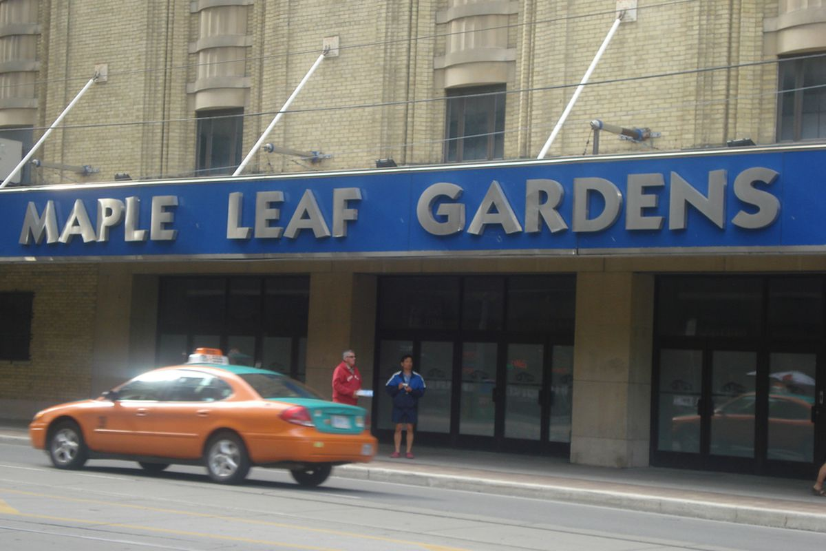 A picture I took of the outside of Maple Leaf Gardens last summer when I visited Toronto.