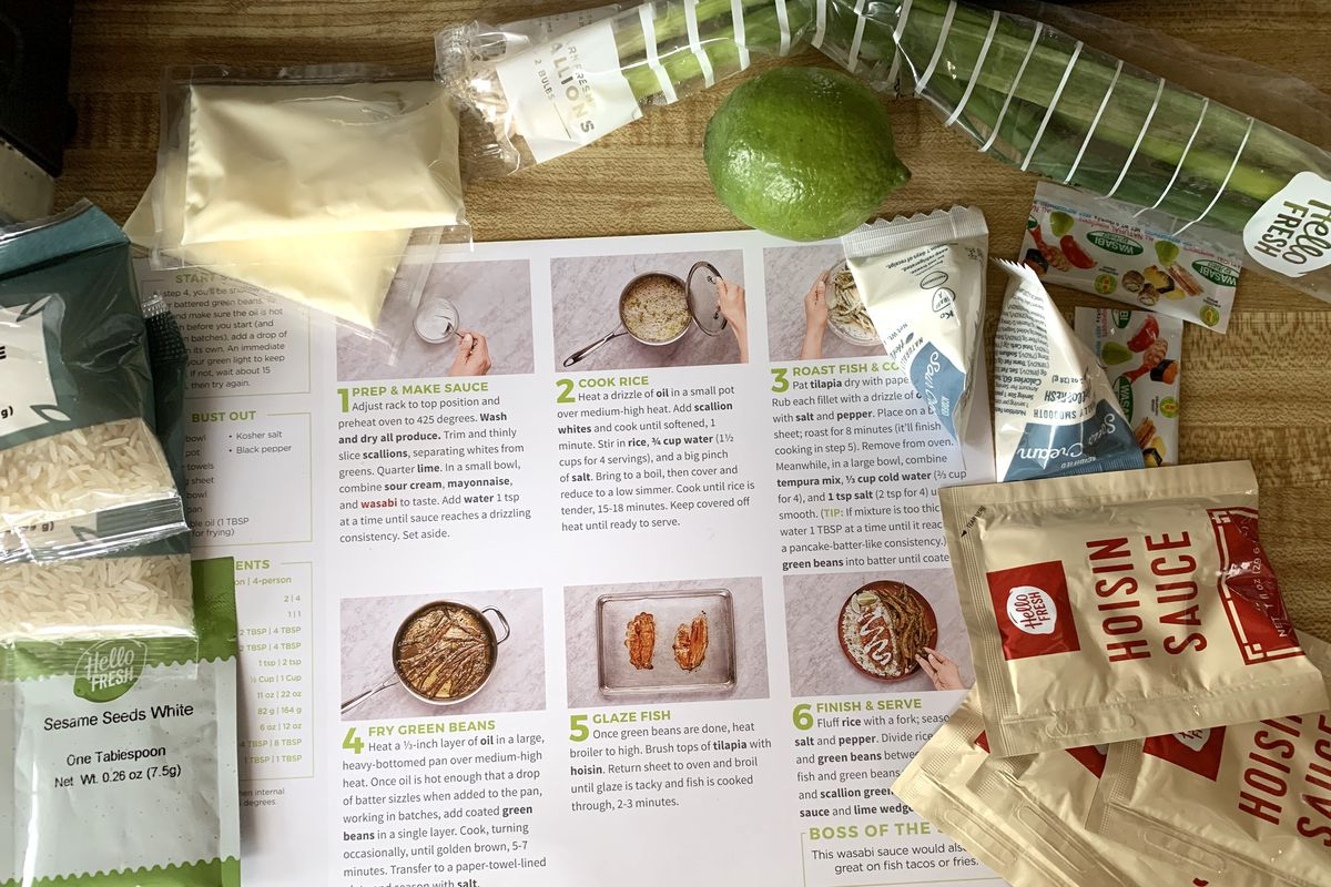From above, a printed step-by-step guide for a recipe on a table covered around the edges with packaged ingredients