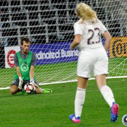 August 14, 2019 - Saint Paul, Minnesota, United States - The Minnesota United Unified Team goalkeeper makes a save against the Colorado Rapids Unified Team in a match at Allianz Field.