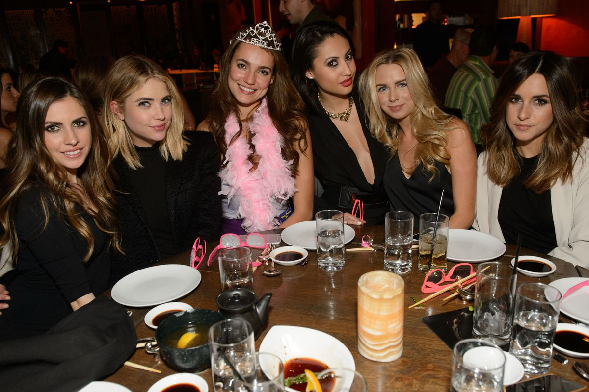 Francia Raisa and Ashley Benson celebrate the bachelorette party of a friend at Tao.