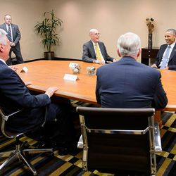 President Barack Obama meets with leaders of The Church of Jesus Christ of Latter-day Saints at the Sheraton Hotel during his visit to Utah on Thursday, April 2, 2015. Left to right are Elder L. Tom Perry, President Dieter F. Uchtdorf, President Henry B. Eyring, Elder D. Todd Christofferson and Obama.