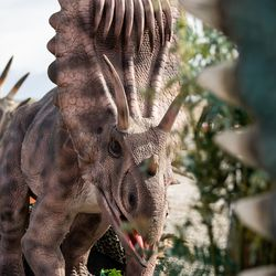 """A display of dinosaurs is pictured ahead of the opening of """"Jurassic Quest Drive Thru"""" at the USANA Amphitheatre in West Valley City on Friday, April 23, 2021."""