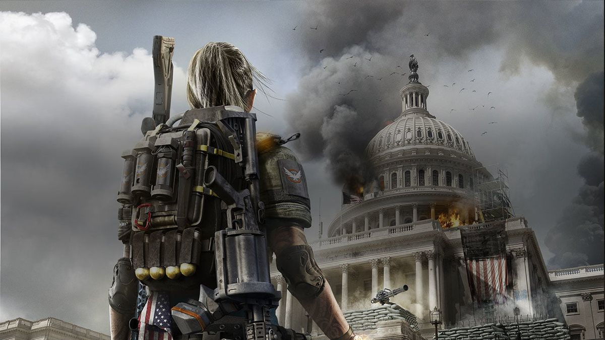 The Division 2 - soldier looking up at the Capitol building on fire