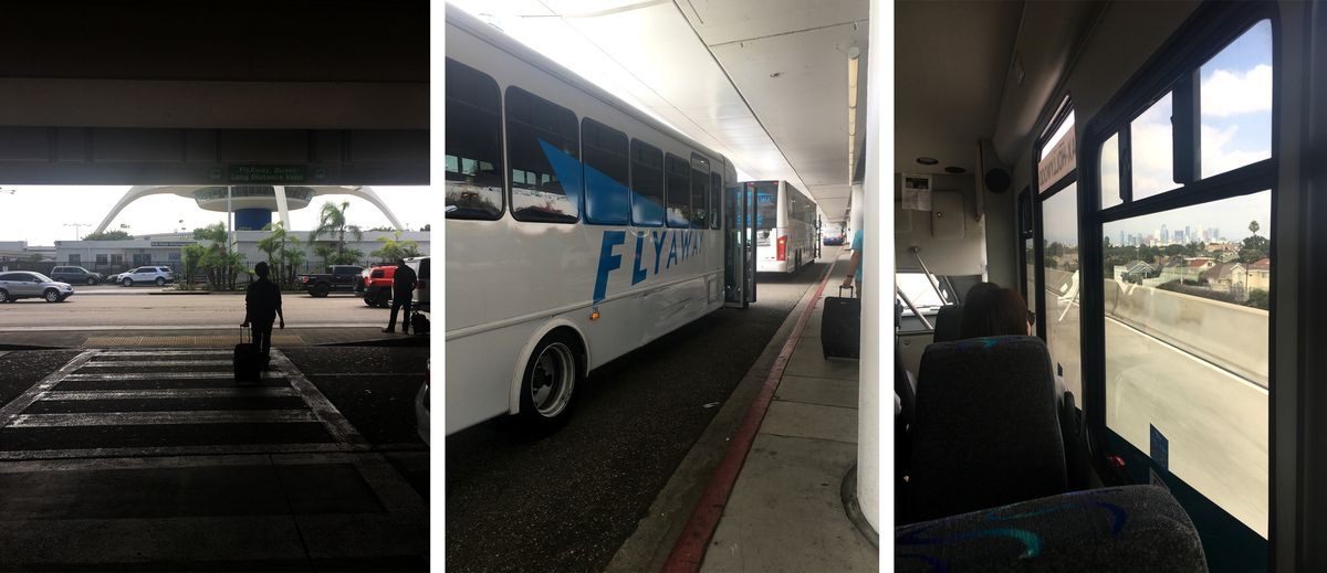 Three photos depicting traveling by bus in Los Angeles. There is a person with luggage crossing a street, a bus parked in a parking spot, and a person sitting on a bus.