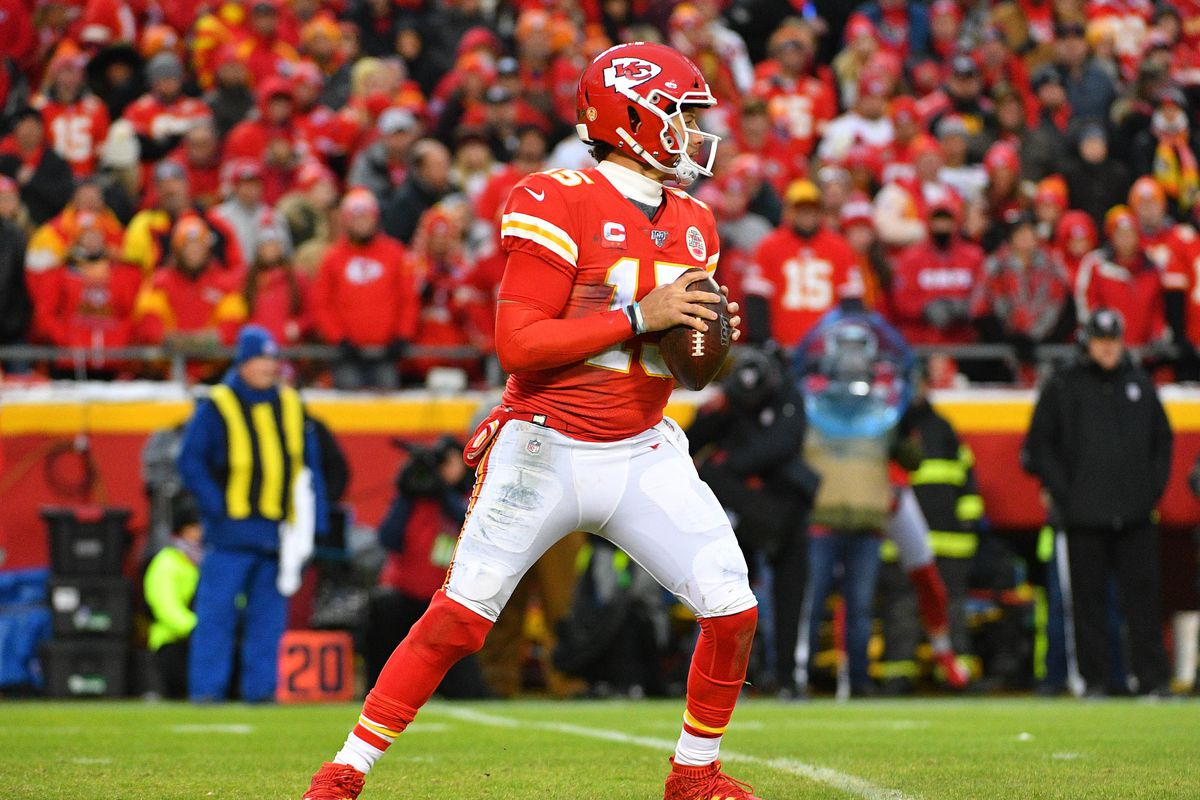 Kansas City Chiefs quarterback Patrick Mahomes looks to pass during the AFC Divisional Round playoff football game against the Houston Texans at Arrowhead Stadium.