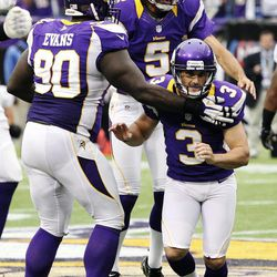 Minnesota Vikings kicker Blair Walsh (3) celebrates with teammates after kicking a field goal in the closing seconds of the second half of an NFL football game against the Jacksonville Jaguars, Sunday, Sept. 9, 2012, in Minneapolis. The Vikings won 26-23 in overtime.