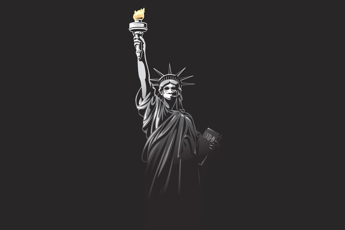 An illustration of the Statue of Liberty in a mask.