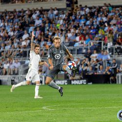 August 14, 2019 - Saint Paul, Minnesota, United States - Minnesota United defender Chase Gasper (77) stretches out to control the ball during the match against the Colorado Rapids at Allianz Field.