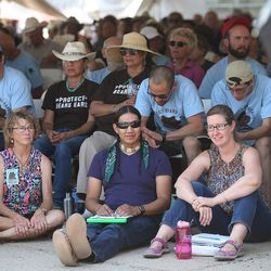 Overflow areas are filled with those who couldn't get inside for a meeting with Interior Secretary Sally Jewell in Bluff talking about the proposed Bears Ears National Monument in southern Utah on Saturday, July 16, 2016.