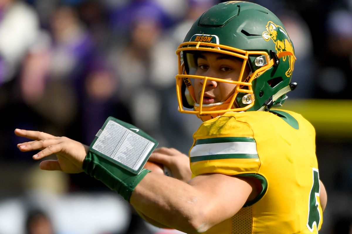 Trey Lance of the North Dakota State Bison throws against the James Madison Dukes during the Division I FCS Football Championship held at Toyota Stadium on January 11, 2020 in Frisco, Texas.