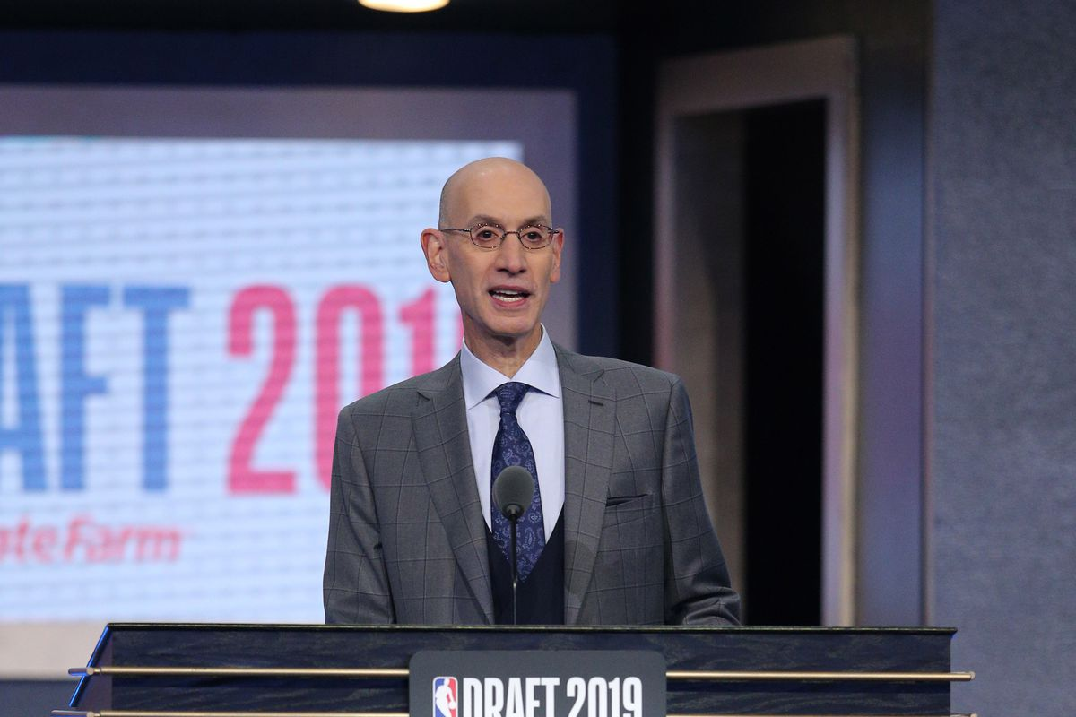 NBA commissioner Adam Silver talks after the final pick of the first round of the 2019 NBA Draft at Barclays Center.