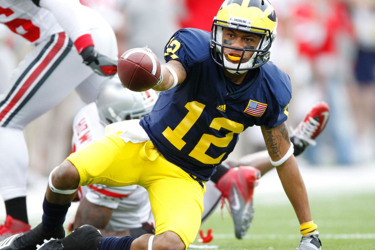Roy Roundtree will need to be more productive in his senior campaign if Michigan's offense wishes to take the next step. (Photo by Gregory Shamus/Getty Images)