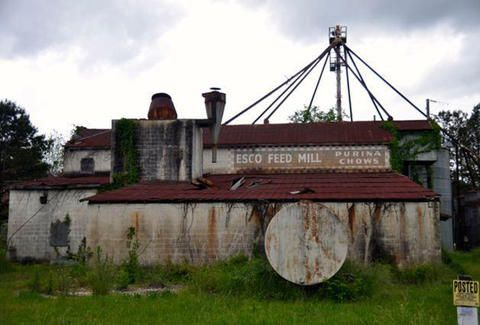 A farm silo and building. Words on a sign on the building read: Esco Feed Mill purina chows.