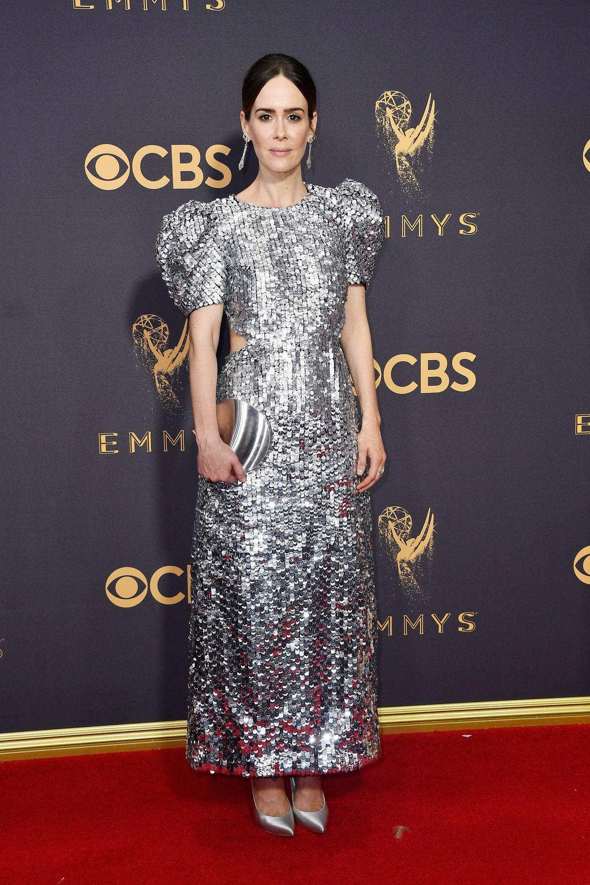Sarah Paulson in Carolina Herrara at the 2017 Emmys.