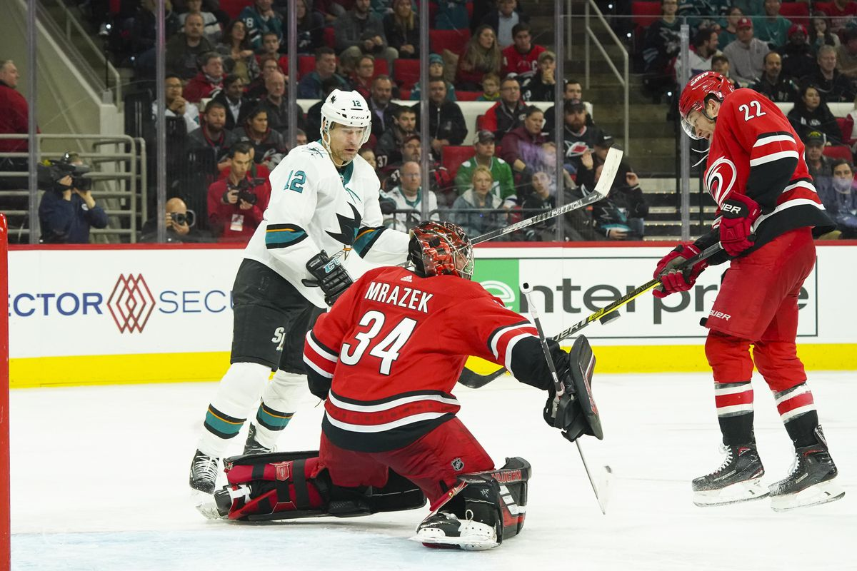 Raleigh, NC, USA; Carolina Hurricanes goaltender Petr Mrazek (34) makes a save against San Jose Sharks left wing Patrick Marleau (12) during the third period at PNC Arena.