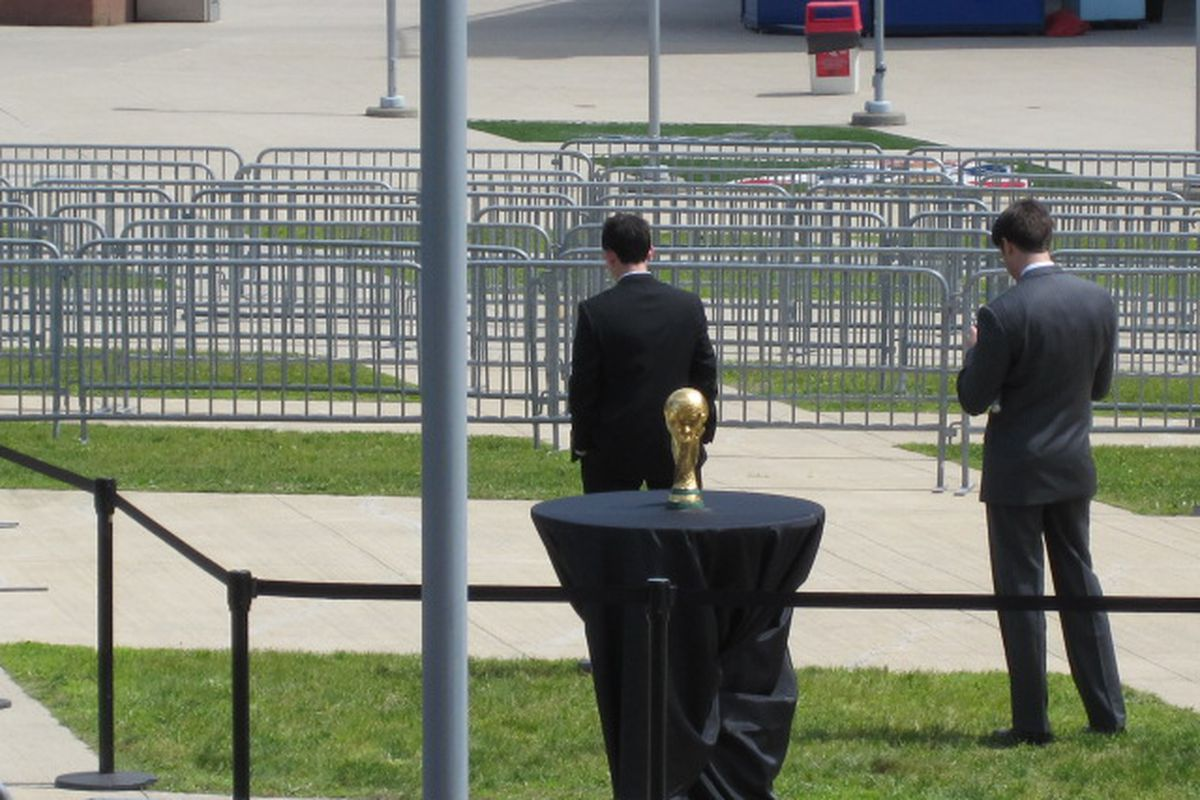 Oh, look, it's the World Cup trophy.  And the guards have their backs turned.....