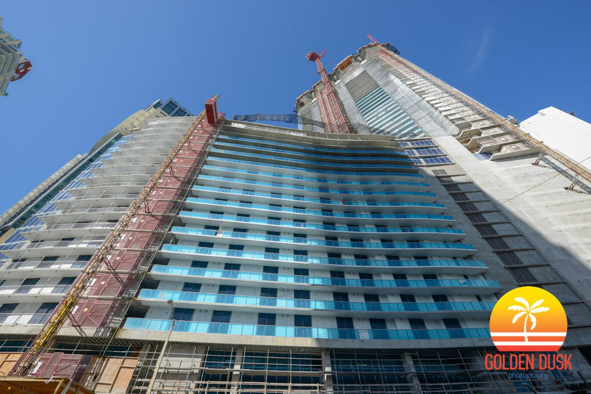 Looking up at the under-construction tower set to be the tallest in Miami