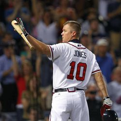 Atlanta Braves third baseman Chipper Jones (10) waves to the crowd before batting in the second inning of a baseball game against the Miami Marlins in Atlanta, Thursday, Sept. 27, 2012.