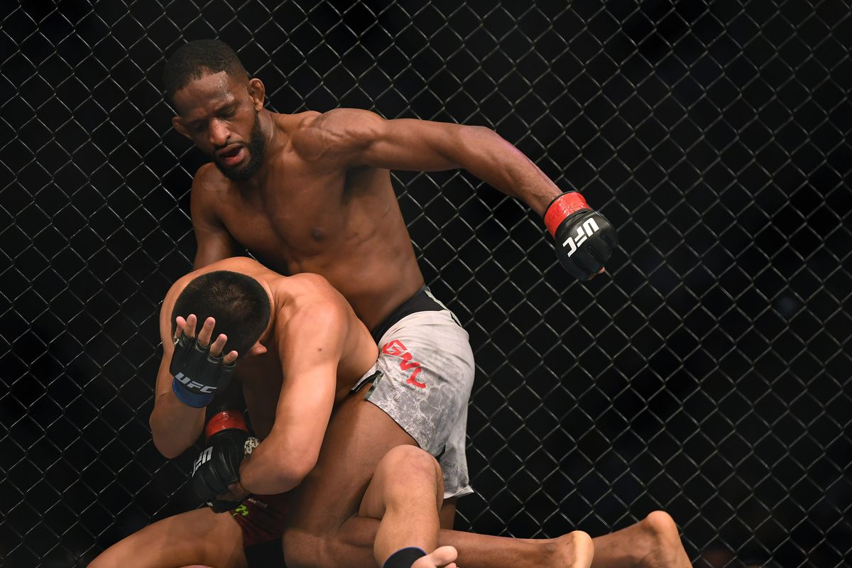 Neil Magny punches Li Jingliang to a unanimous win during UFC 248 at T-Mobile Arena on March 07, 2020 in Las Vegas, Nevada.