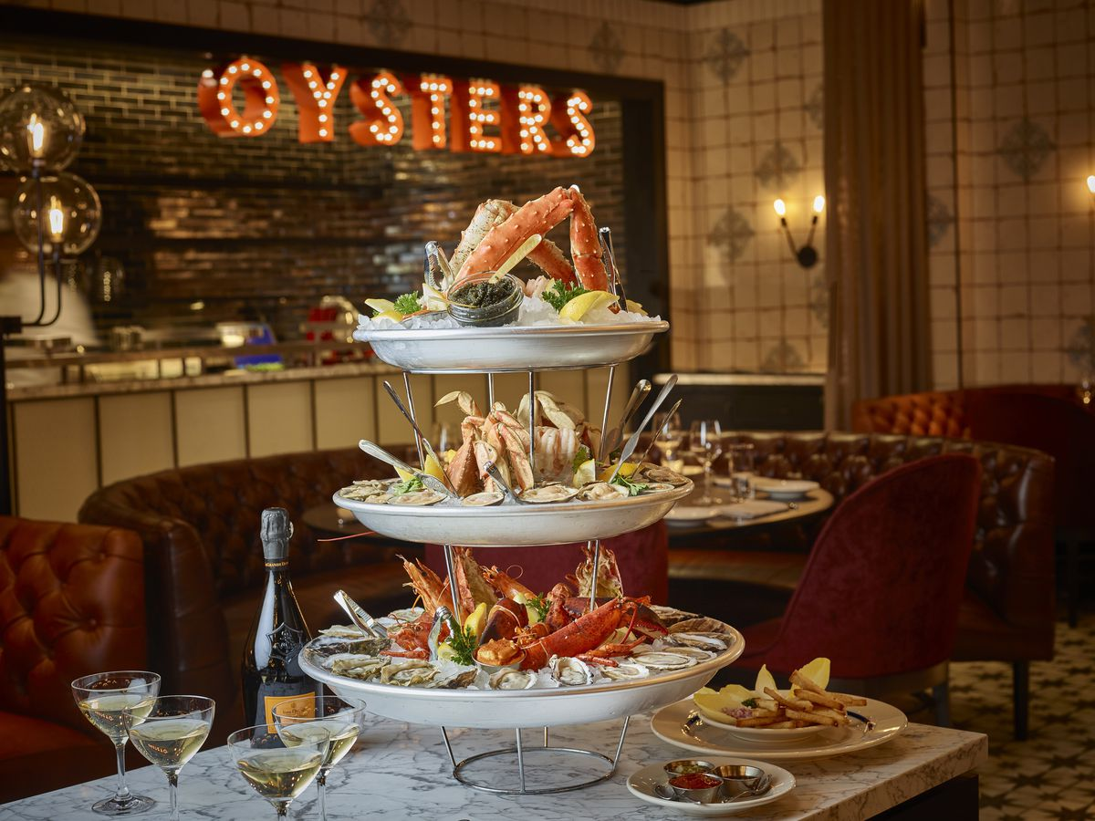 The seafood tower at Blue Ribbon