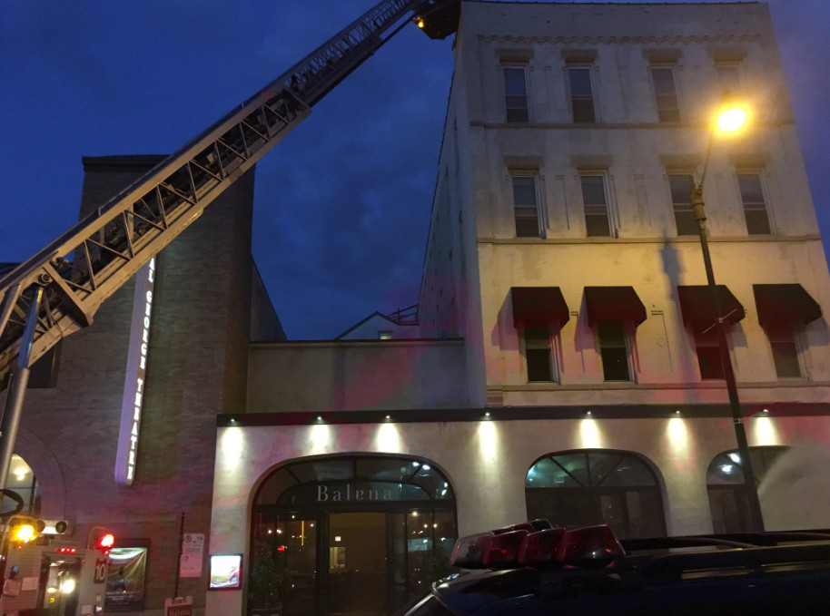 The roof of the building that houses Balena restaurant caught fire Tuesday night in Lincoln Park.   Fire Media Affairs