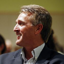 Sen. Jeff Flake, R-Ariz., waits to be introduced prior to speaking to members of the Glendale Chamber of Commerce Tuesday, May 30, 2017, in Glendale, Ariz.