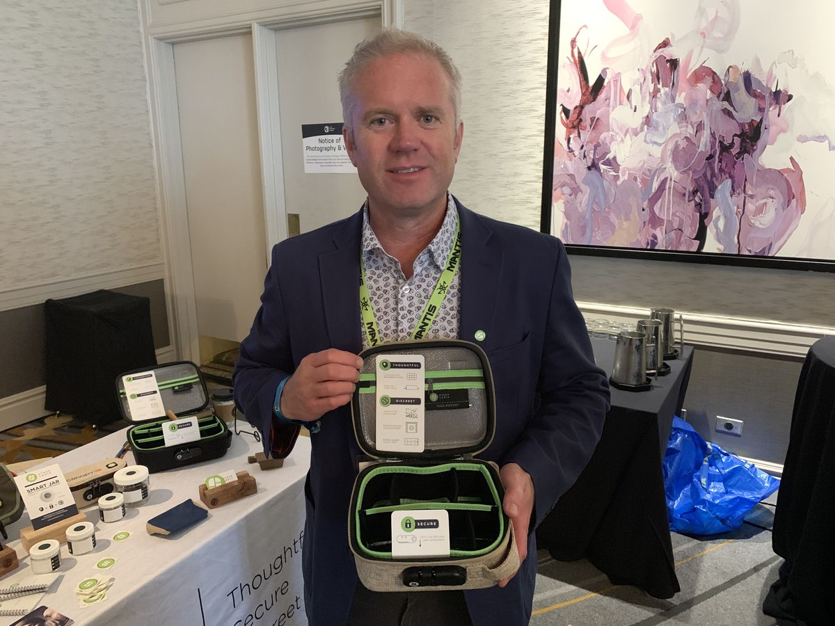 Skip Stone shows off a Stashlogix stash box at the Arcview Investor Forum at the Hotel Fairmont Chicago on July 18, 2019.