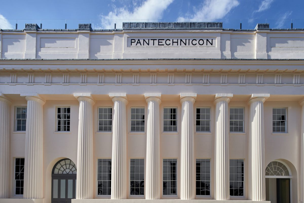 The Pantechnicon building in Belgravia, London, fronted with Doric columns