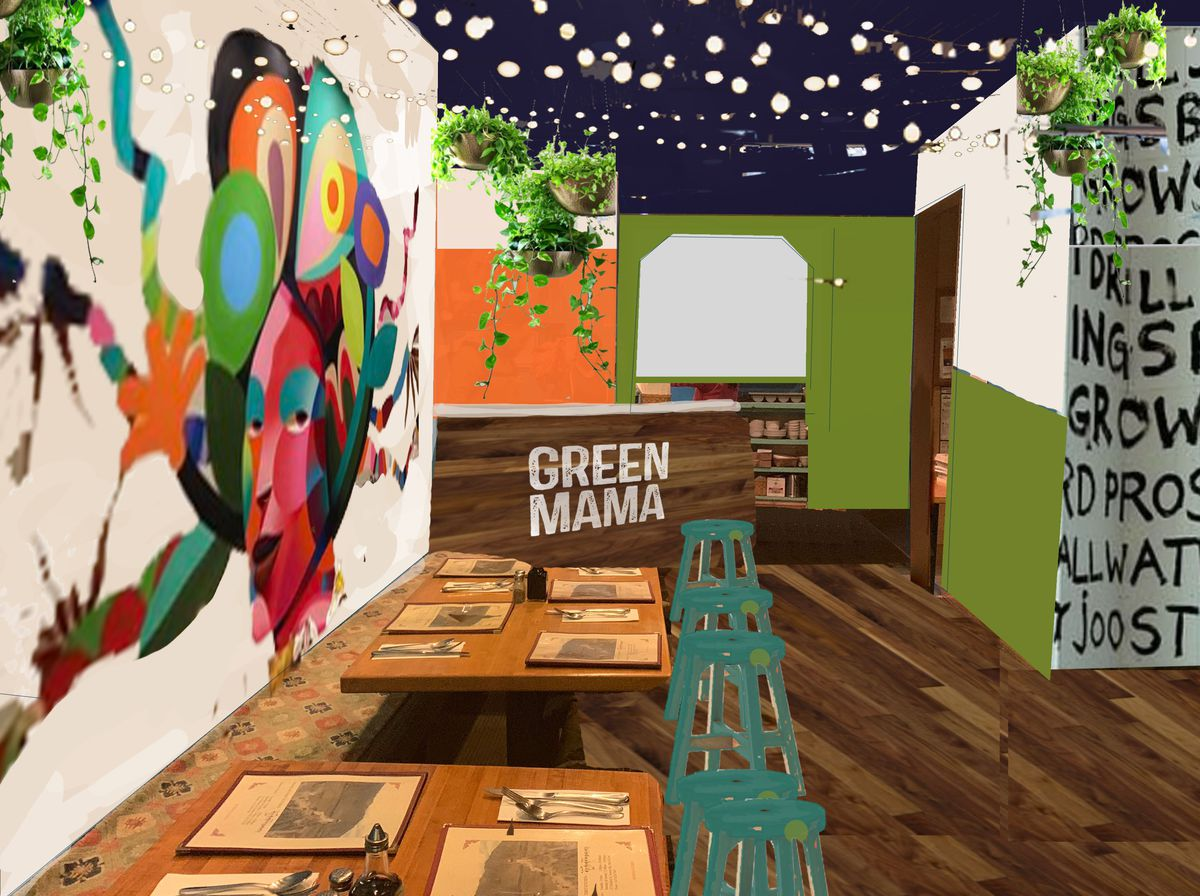 A rendering of a fast-casual restaurant called Green Mama, with colorful murals, wood features, and greenery