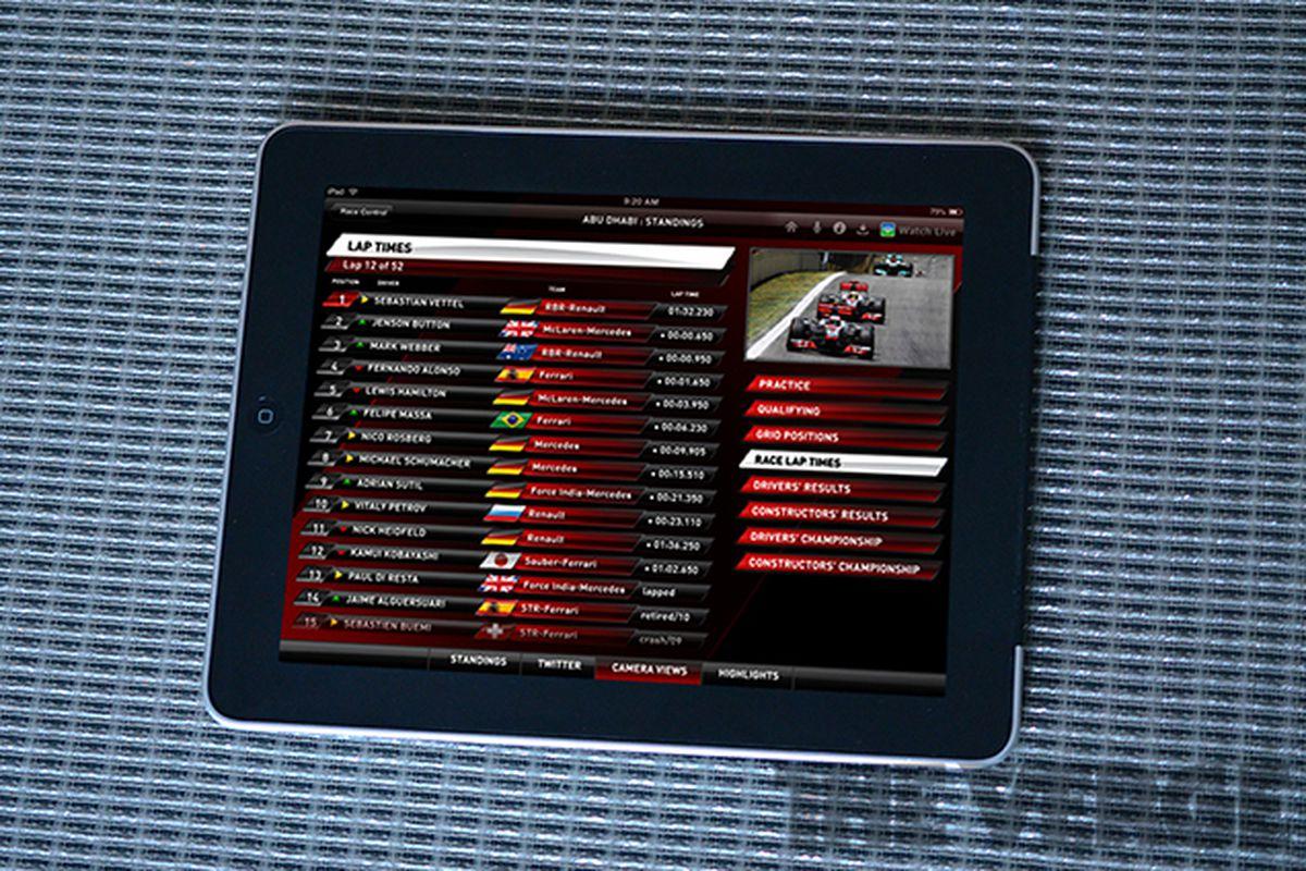 Sky Sports iPad app F1