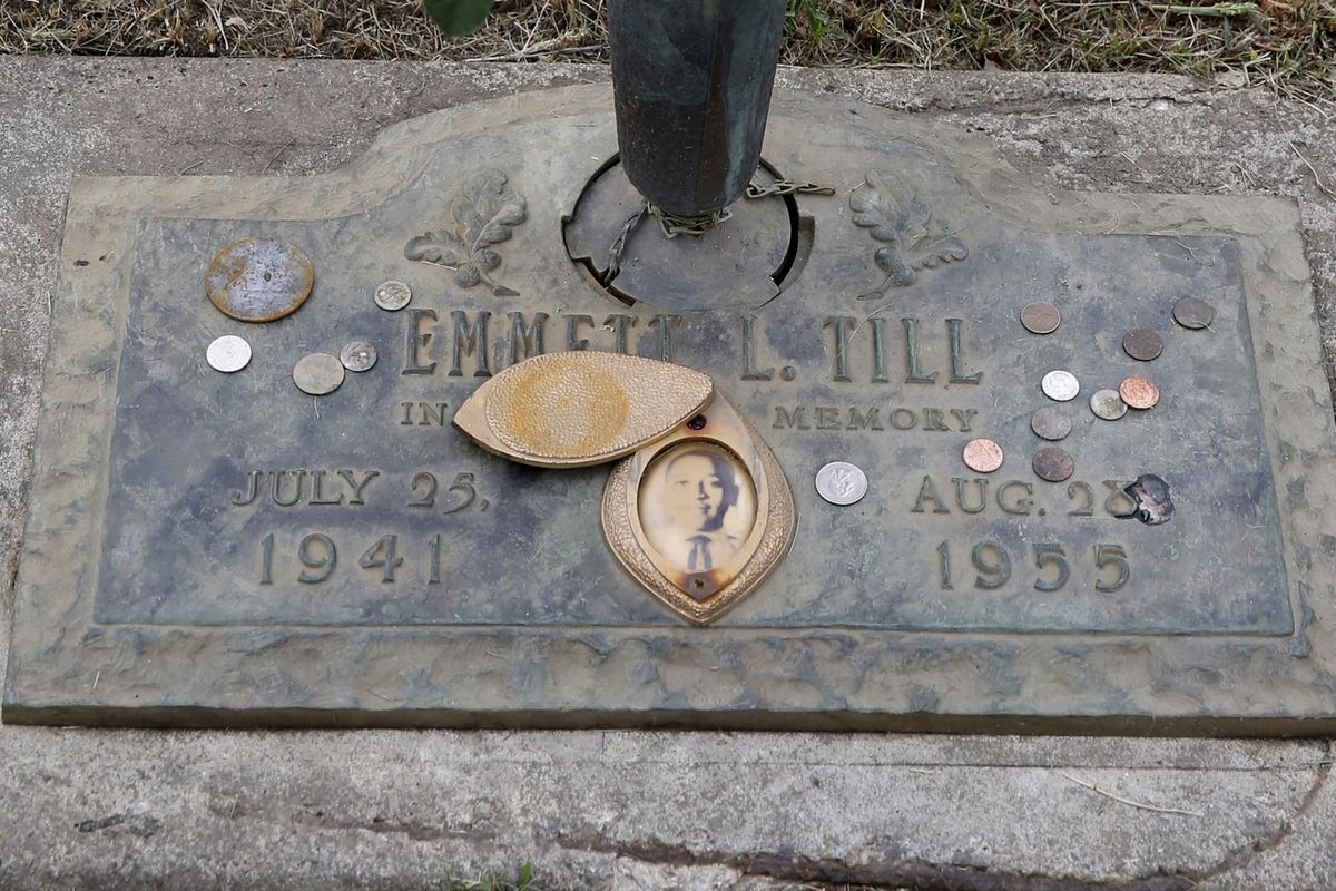 The grave marker for Emmett Till at Burr Oak Cemetery in Alsip. His lynching was a tipping point for the civil rights moment.