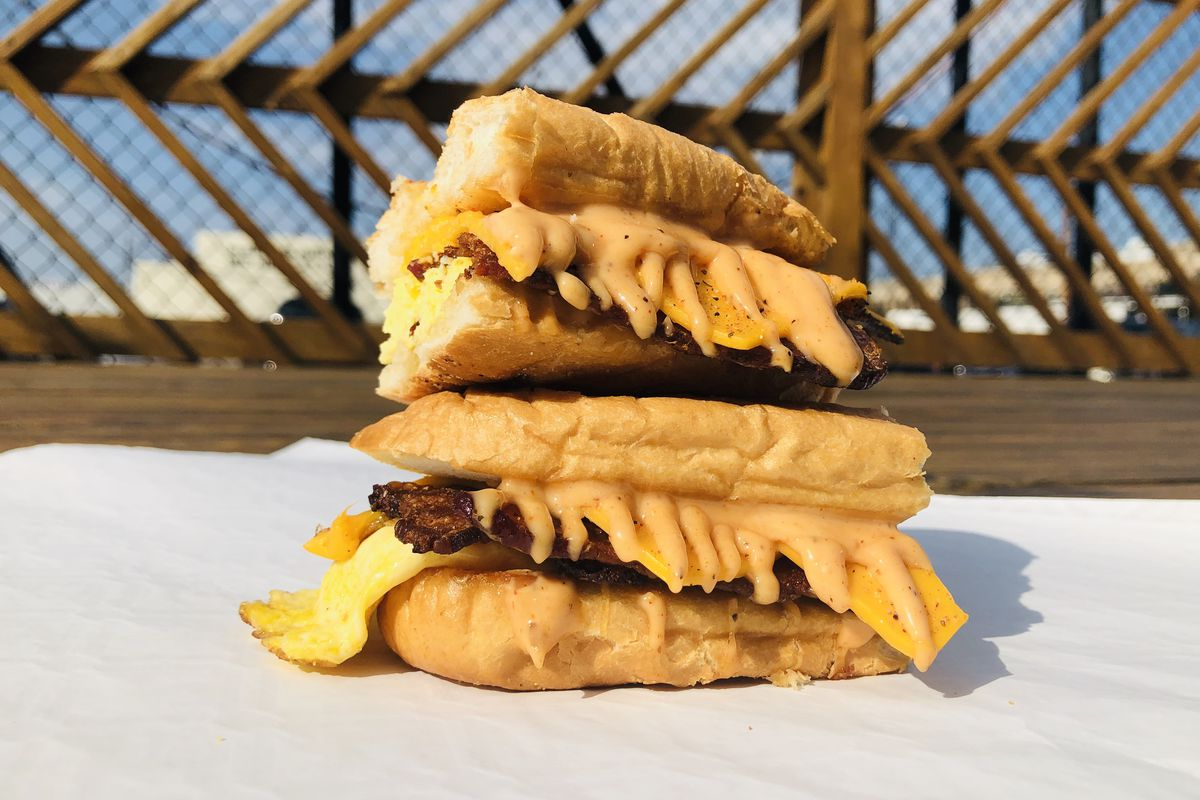 The new  bacon, egg, and cheese sandwich from Philly Wing Fry