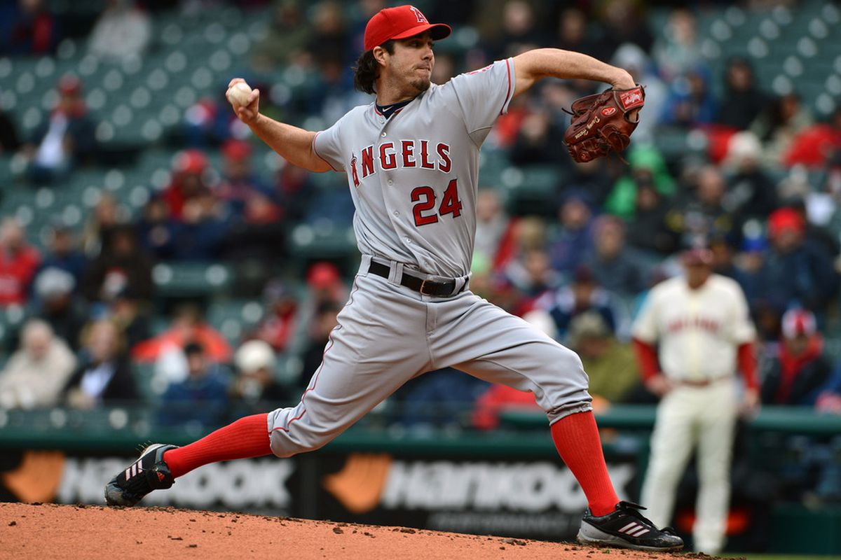 Dan Haren #24 of the Los Angeles Angels of Anaheim pitches during the second inning against the Cleveland Indians at Progressive Field.