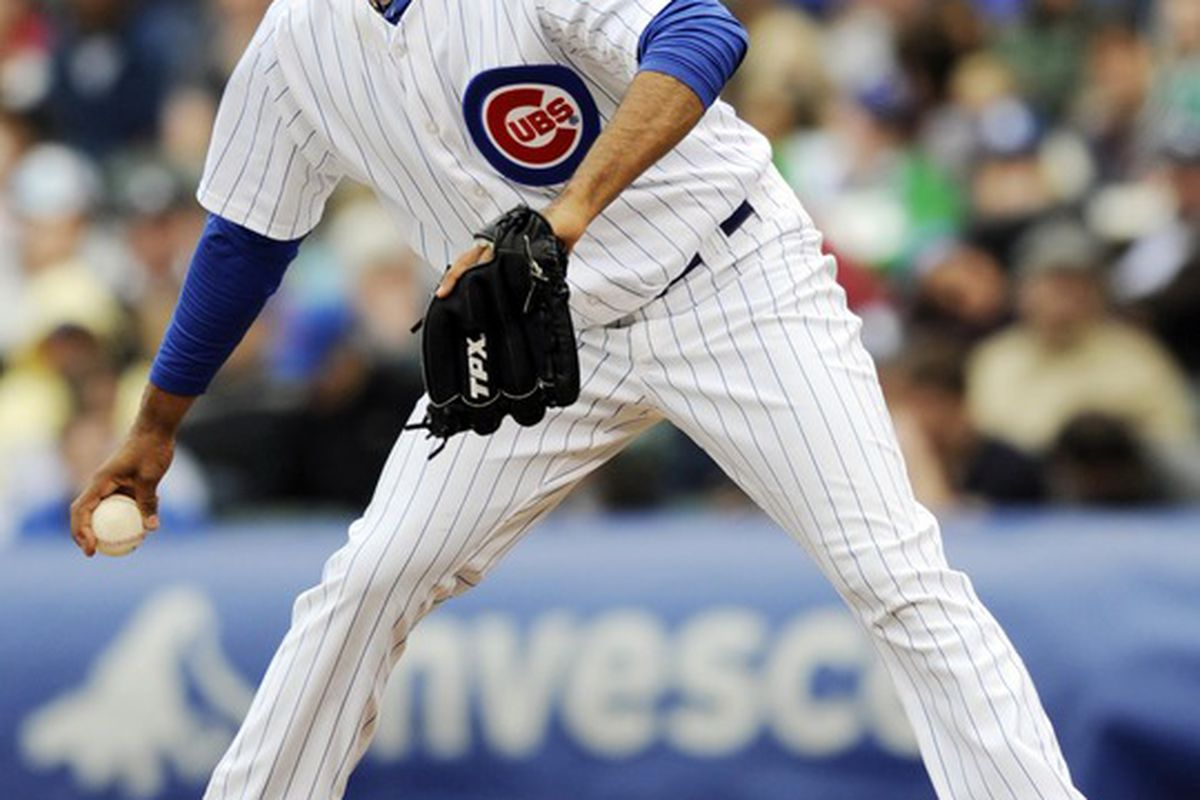 Chicago, IL, USA; Chicago Cubs relief pitcher Lendy Castillo pitches against the Los Angeles Dodgers at Wrigley Field.  Credit: David Banks-US PRESSWIRE